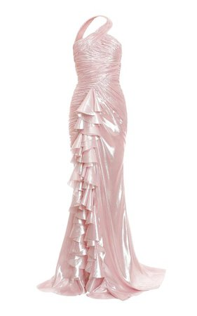 Ruffled Draped Silk-Blend Dress By Balmain   Moda Operandi