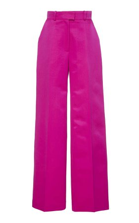 Silk-Blend Wide-Leg Pants