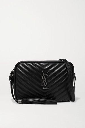Lou Quilted Leather Shoulder Bag - Black