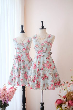 Blue floral Peony vintage Tea dress - KEERATIKA MY LADY | Keeratika B