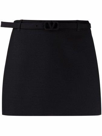 valentino belted black skirt