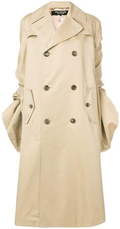 gathered sleeved trench coat
