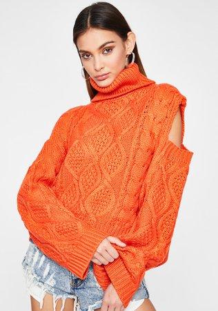 Turtleneck Sweater Cold Shoulder Cable Knit Chunky Orange | Dolls Kill
