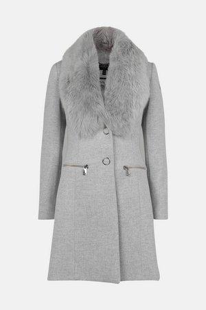 Long Pile Collar Zip Detail Coat | Karen Millen