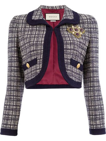 Gucci Checkered Cropped Jacket