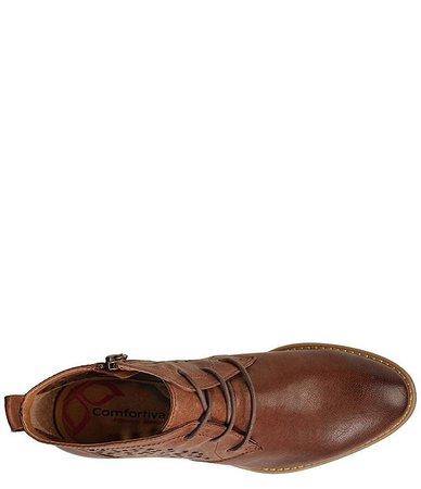 Comfortiva Chalina Laser Cut Leather Block Heel Booties | Dillard's