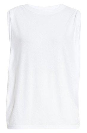 RtA Tyler Pleated Cotton & Cashmere Tank white