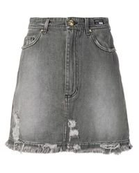 Versace Jeans Distressed Denim Skirt in Grey (Gray) - Lyst