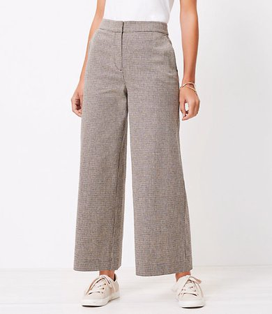 The High Waist Wide Leg Crop Pant in Houndstooth