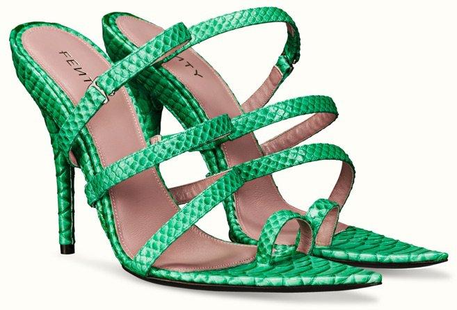 FENTY Green Spiralling Mule Heels