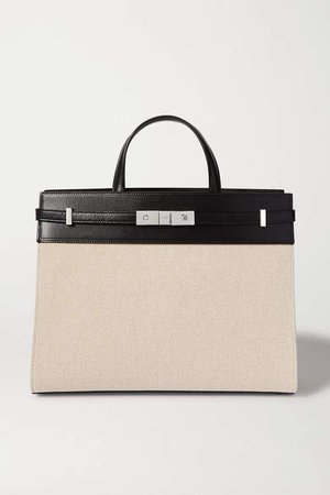 Manhattan Small Leather-trimmed Canvas Tote - Neutral