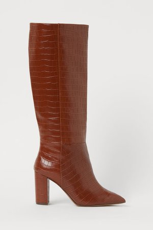 Crocodile-patterned Boots - Beige