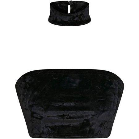 Lacy Black Crushed Velvet Bandeau Choker