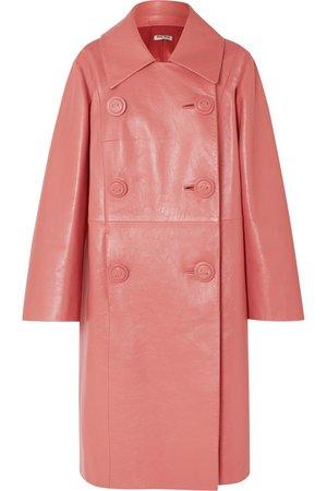 Miu Miu   Double-breasted leather coat   NET-A-PORTER.COM