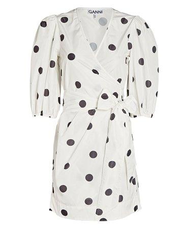 GANNI Polka Dot Mini Wrap Dress | INTERMIX®