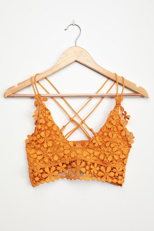 Free People Miss Dazie Yellow - Crochet Lace Bralette - Lace Bra