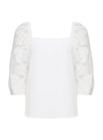 Ivory Organza Square Neck Top | Dorothy Perkins