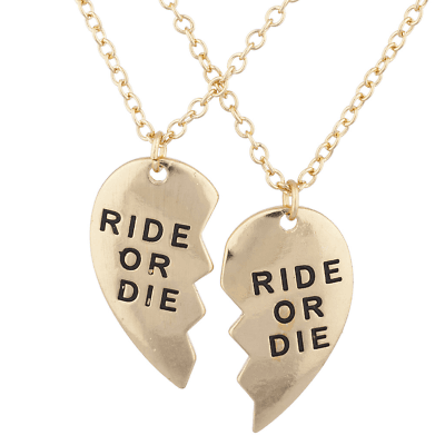 Lux Accessories Gold Tone Ride or Die BFF Broken Heart Charm Necklace Set 2PC | eBay
