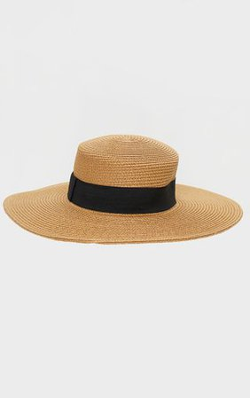 Natural Straw Wide Brimmed Boater Hat | PrettyLittleThing