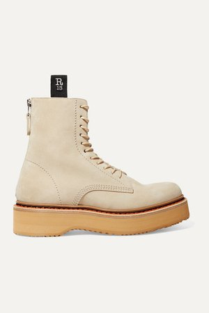 Suede Platform Ankle Boots - Beige