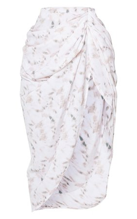 Light Pink Tie Dye Ruched Side Midi Skirt | PrettyLittleThing