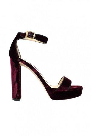 Burgundy Velvet Sandals