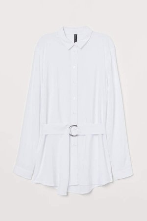 Belted Shirt - White