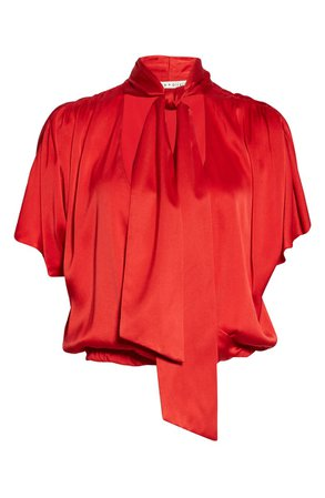 Alice + Olivia Livvy Tie Neck Wrap Front Stretch Silk Blouse | Nordstrom
