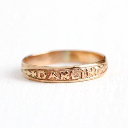 Antique Darling Ring 10k Rose Gold Wedding Band Vintage