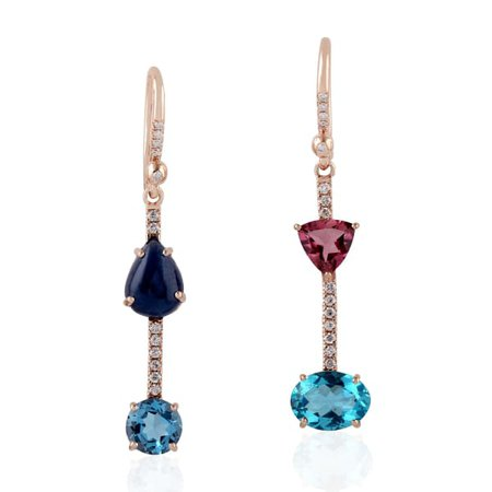 18Kt Rose Gold Pave Diamond Dangle Earring Topaz Sapphire Apetite | Artisan | Wolf & Badger