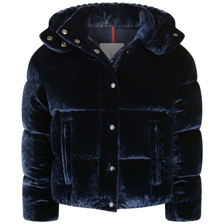 Moncler Girls Navy Velvet Down Padded Caille Jacket - Coats & Jackets - Department - Girl