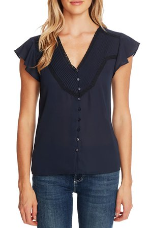 CeCe Pleated Lace V-Neck Blouse | Nordstrom