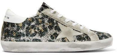 Superstar Glittered Leather And Distressed Suede Sneakers - Silver