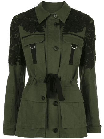 Veronica Beard Lace-embellished Belted Jacket In Green | ModeSens