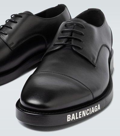 Leather Derby Shoes With Logo - Balenciaga   Mytheresa