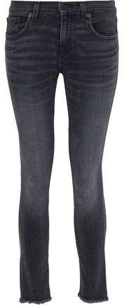 Frayed Faded Low-rise Skinny Jeans