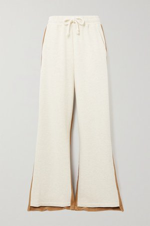 Paneled Cotton-terry And Jersey Track Pants - Beige