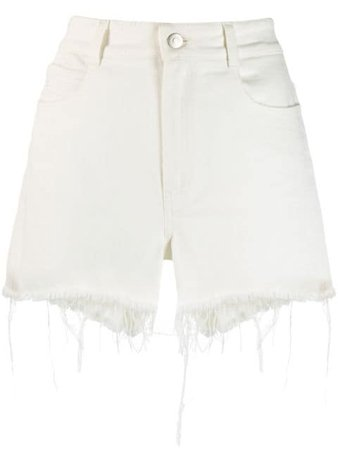 White Stella Mccartney Frayed Hem Denim Shorts | Farfetch.com