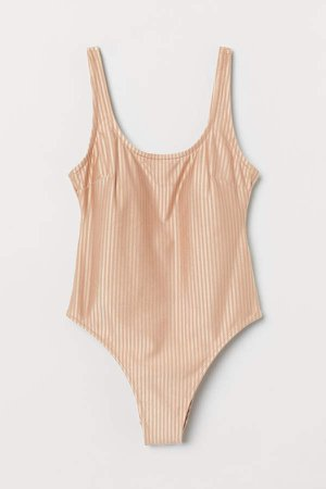 High Leg Swimsuit - Beige
