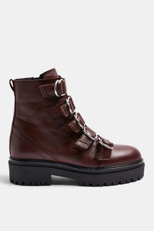 AQUARIUS Burgundy Chunky Leather Boots   Topshop