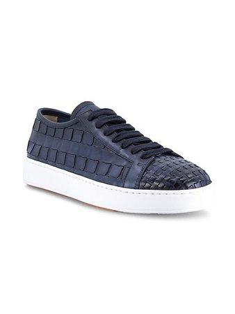 Santoni Lace-Up Woven Leather Sneakers | SaksFifthAvenue