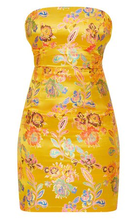 Mustard Oriental Satin Bandeau Lace Up Back Bodycon Dress   PrettyLittleThing USA