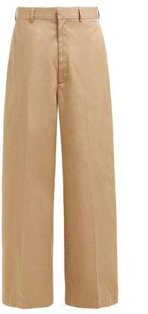 Wide Leg Cotton Chino Trousers - Womens - Tan