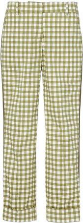 Gingham-Patterned Garmet Cropped Pants
