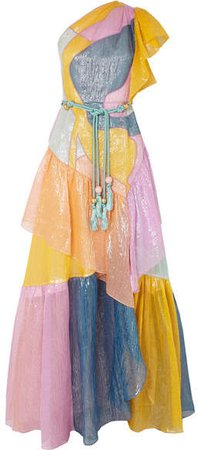 One-shoulder Color-block Metallic Silk-blend Organza Gown - Pink