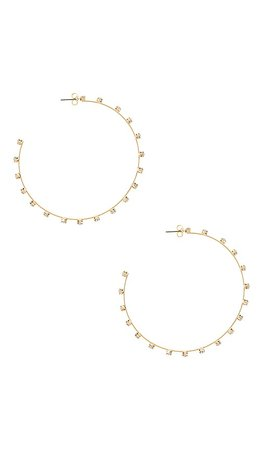 Ettika Rhinestone Hoop Earrings in Gold | REVOLVE