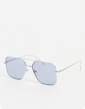 ASOS DESIGN square angular metal aviator sunglasses in black | ASOS