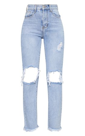 Bleach Wash High Rise Distressed Straight Leg Jeans | PrettyLittleThing
