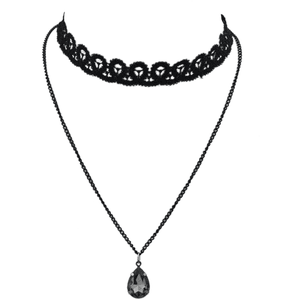 Black Chain Lace Choker Necklace  PNG