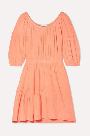 Camellia Crinkled Cotton-gauze Mini Dress - Coral